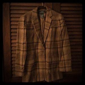 Vintage Ralph Lauren Women's brown plaid blazer!!